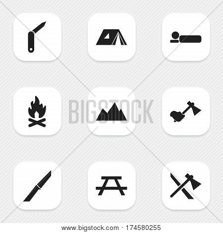 Set Of 9 Editable Trip Icons. Includes Symbols Such As Ax, Knife, Tomahawk And More. Can Be Used For Web, Mobile, UI And Infographic Design.