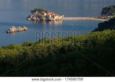 Sveti Stefan island near city of Budva, Montenegro on Adriatic coast.
