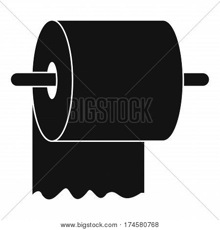 Roll of toilet paper on holder icon. Simple illustration of roll of toilet paper on holder vector icon for web