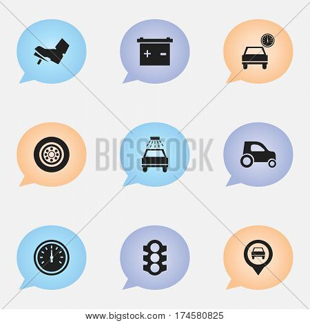 Set Of 9 Editable Vehicle Icons. Includes Symbols Such As Treadle, Automobile, Car Lave And More. Can Be Used For Web, Mobile, UI And Infographic Design.