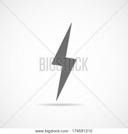 Lightning icon. Vector illustration. Gray lightning icon isolated on light background.