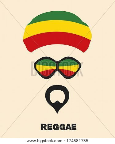 Abstract Rastaman man's face with a beard glasses and colored beret. Icon reggae musical style. Musical poster. Stock vector