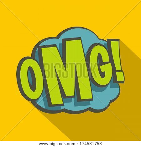 OMG, comic book explosion icon. Flat illustration of OMG, comic book explosion vector icon for web isolated on yellow background