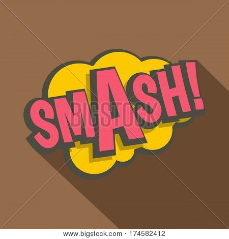 Smash, comic text sound effect icon. Flat illustration of Smash, comic text sound effect vector icon for web isolated on coffee background