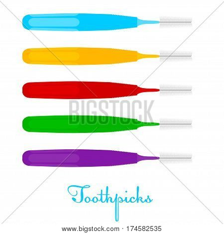 Toothpicks on a white background. Colored Vector toothpicks isolate. Dental care equipment. Stock vector