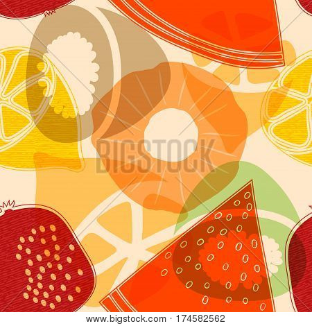 Seamless pattern with fruits: watermelon orange kiwi pomegranate melon apple pineapple. Colorful vector pattern flat style. Stock vector