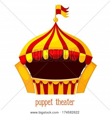 Bright a puppet theater on a white background. Vector illustration of a puppet theater with open curtains. Cartoon style. Stock vector