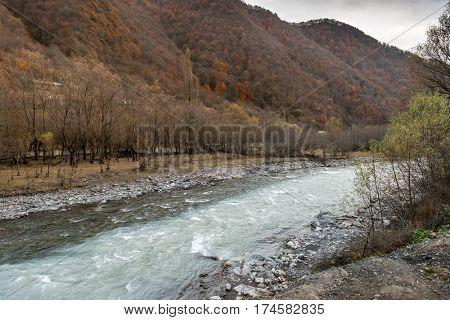 Confluence of Black and White Aragvi rivers, Caucasus Mountains, Georgia
