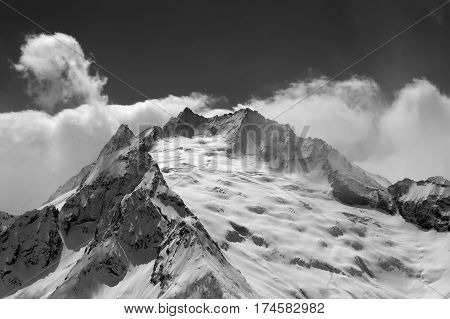Black And White View On Mountain Glacier Covered With Snow
