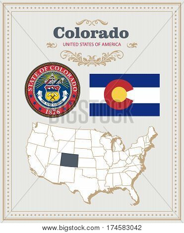 High detailed vector set with flag, coat of arms, map of Colorado. American poster. Greeting card from United States of America. Colorful design