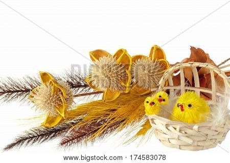 Easter decorations with chicks bunnies and eggs
