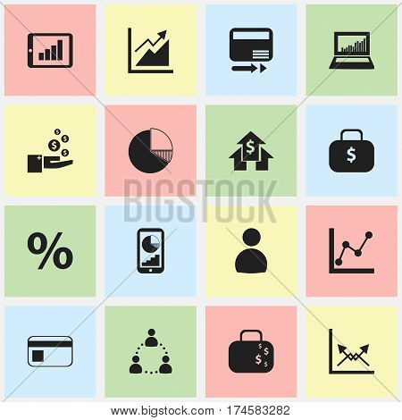 Set Of 16 Editable Statistic Icons. Includes Symbols Such As Banking House, Equalizer Display, Transmission And More. Can Be Used For Web, Mobile, UI And Infographic Design.
