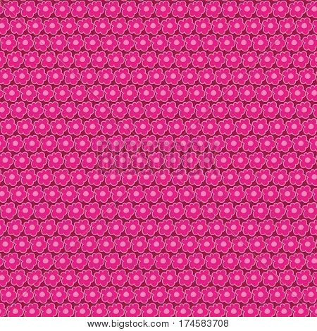 Seamless simple flowers pattern on the deep red background