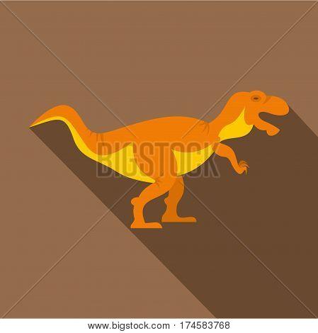 Orange tyrannosaur dinosaur icon. Flat illustration of orange tyrannosaur dinosaur vector icon for web isolated on coffee background