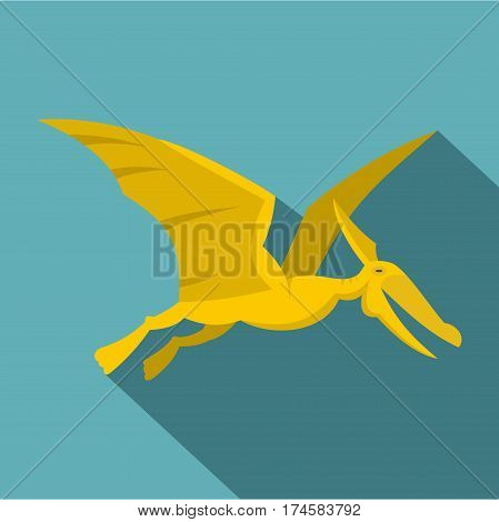 Yellow pterosaurs dinosaur icon. Flat illustration of yellow pterosaurs dinosaur vector icon for web isolated on baby blue background