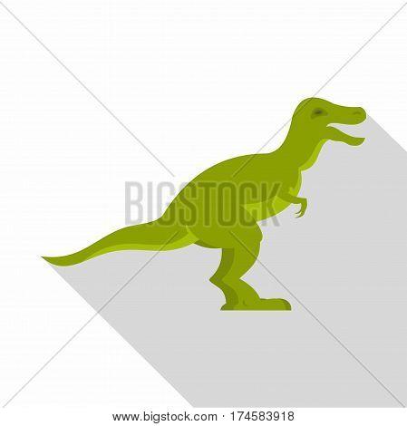 Green theropod dinosaur icon. Flat illustration of green theropod dinosaur vector icon for web isolated on white background