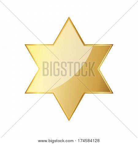 Golden hexagonal star icon. Vector illustration. Glossy golden star isolated on white background. Star of David.