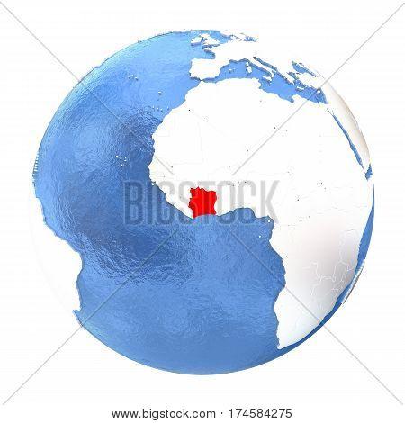Ivory Coast On Globe Isolated On White