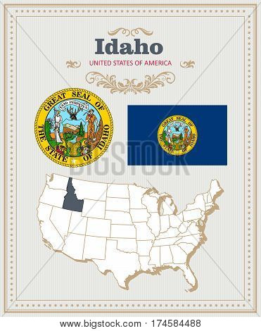 High detailed vector set with flag, coat of arms, map of Idaho. American poster. Greeting card from United States of America. Colorful design
