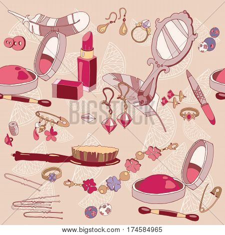 Woman fashion accessories seamless pattern cosmetics jewelery vector pattern