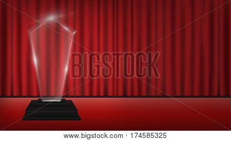real 3d transparent acrylic trophy with red curtain stage background