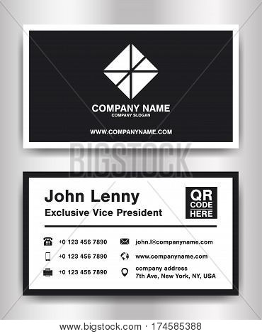 simple black theme business name card template vector