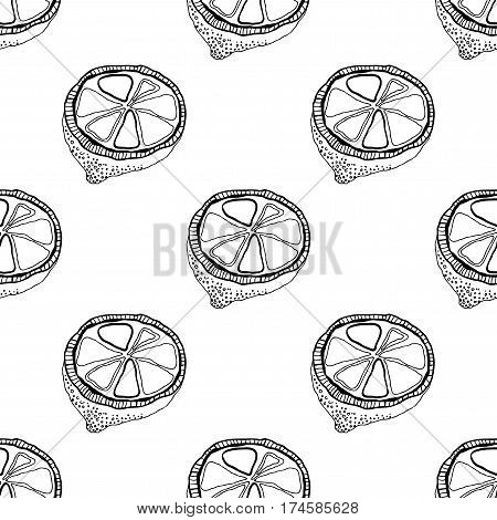 Black and white fruit seamless pattern with lemons for coloring books