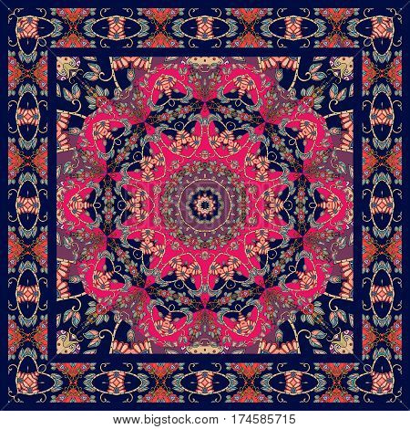 Lovely tablecloth with floral mandala and ornamental frame. Beautiful ethnic ornament. Bandana print. Kerchief square pattern design.