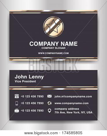 simple black and gold theme business name card template vector