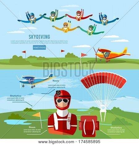Skydiving teamwork banner extreme sport. Skydiver jumps from an airplane vector