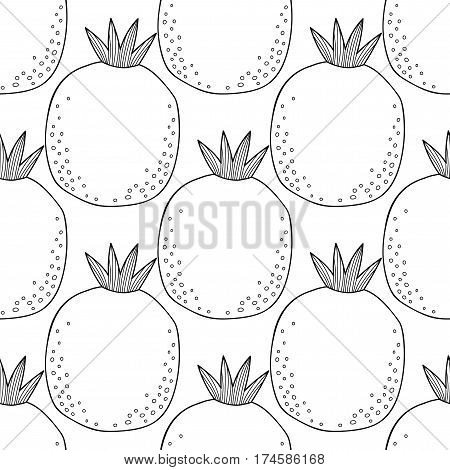 Black and white seamless pattern with pomegranates for coloring book, page. Fruit background