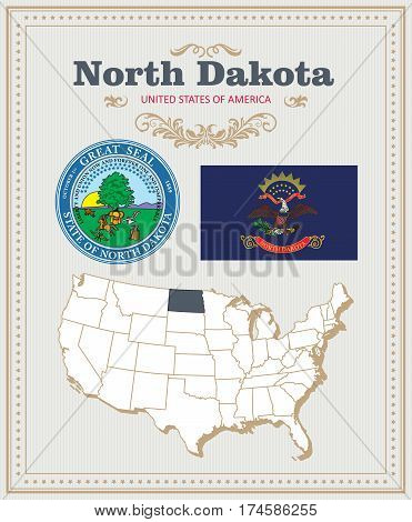 High detailed vector set with flag, coat of arms, map of North Dakota. American poster. Greeting card from United States of America. Colorful design