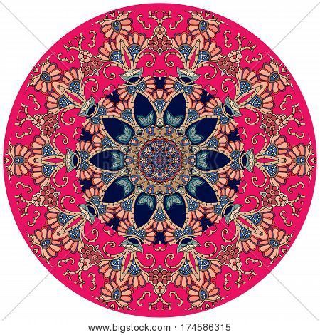 Decorative plate in indian style. Round rug.