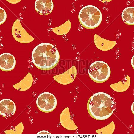 Colorful vector seamless background with slices of orange, lemon and air bubbles on red background. Background for wallpapers, eco packaging citrus and vitamin products, juices, menu pages and textile.