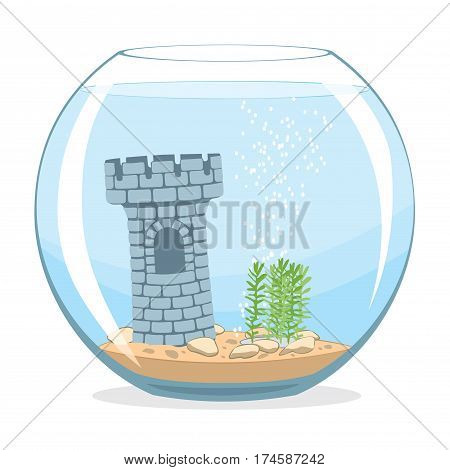 Isolated fishbowl aquarium with castle and plants