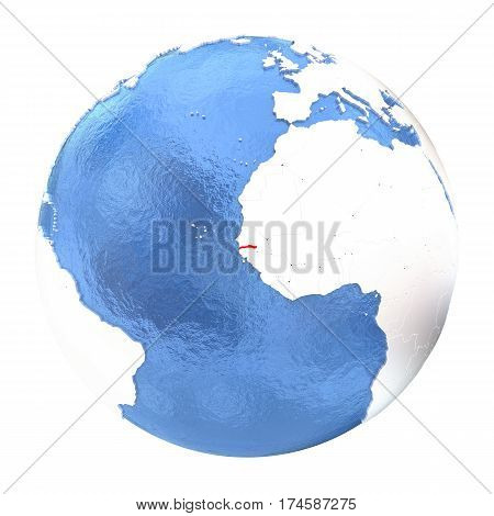 Gambia On Globe Isolated On White