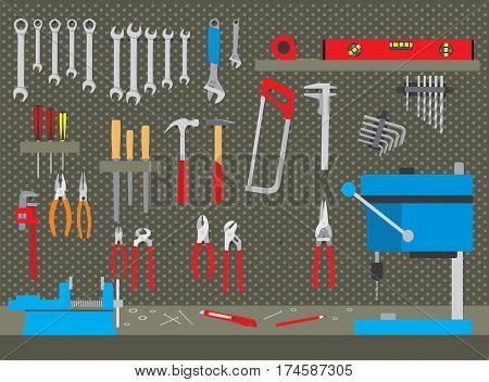 Repair and construction working tools collection in workshop