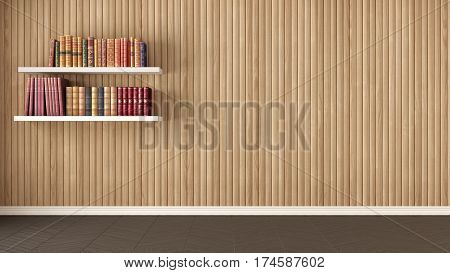 Empty Room, Shelves With Old Books, Herringbone Parquet And Wooden Wall, Background Interior Design