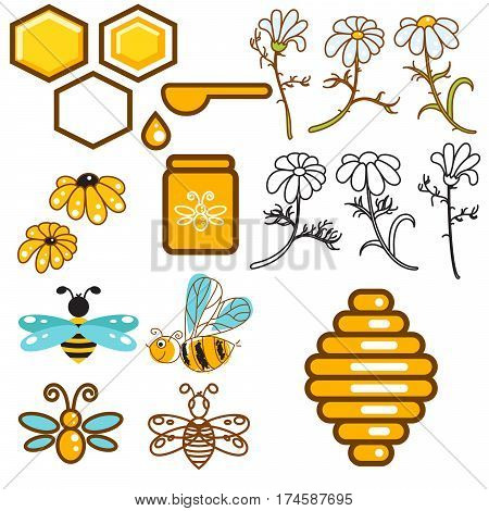 Honeybee and flowers apiary vector icon set. Bees, honey jar and vespiary objects.