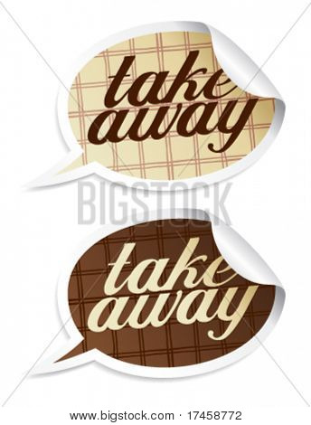 Take away stickers in form of speech bubbles.