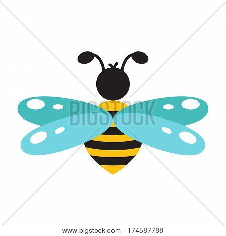 Honeybee cartoon icon isolated vector. Cute flat style bee illustration.