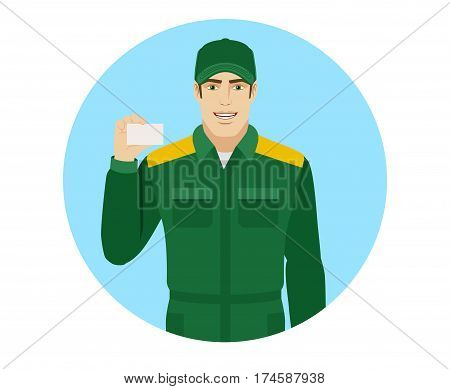 Man in uniform shows the business card. Portrait of Delivery man or Worker in a flat style. Vector illustration.