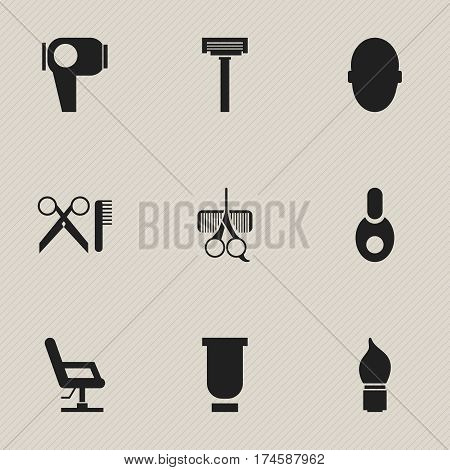 Set Of 9 Editable Barber Icons. Includes Symbols Such As Hair Drier, Hairdresser Set, Barber Tools And More. Can Be Used For Web, Mobile, UI And Infographic Design.