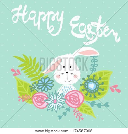 Happy Easter greeting card with bunny and flower. Hand drawn lettering.