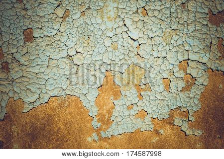 Abstract corroded colorful rusty metal background. Blue paint flaking and cracking texture on rusty metal.