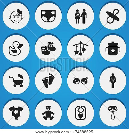 Set Of 16 Editable Infant Icons. Includes Symbols Such As Pinafore, Stroller, Soothers And More. Can Be Used For Web, Mobile, UI And Infographic Design.