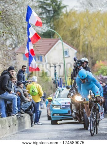 Conflans-Sainte-HonorineFrance-March 62016: The Dutch cyclist Lars Boom of Astana Team riding during the prologue stage of Paris-Nice 2016.