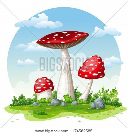 Illustration of some fly mushrooms in autumn