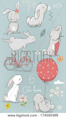set with 6 cute little cartoon hares