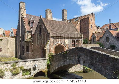 Famous medieval St Bonifacius Bridge in historic center of Bruges.(Belgium). Horizontally.